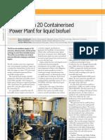 Containerised Power Plant Liquid Biofuel