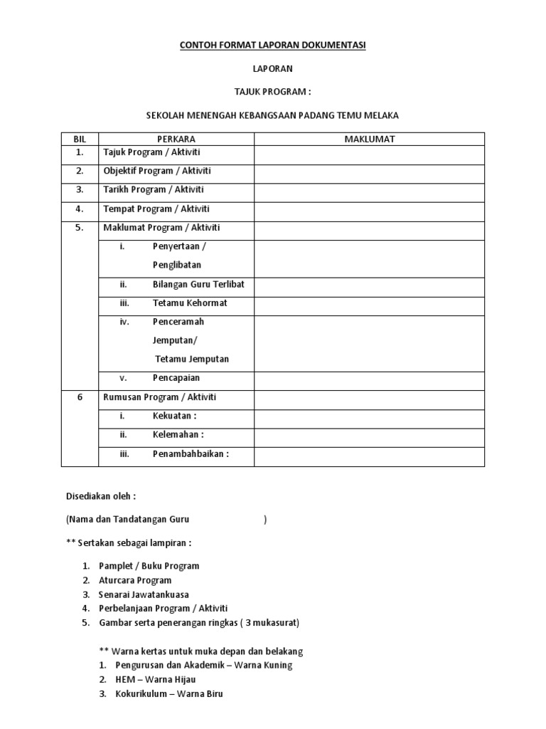 Contoh Format Laporan Dokumentasi