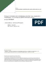 Critique et refondation de la métaphysique chez Kant_CAIRN