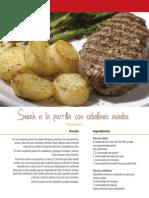 Steak a La Parrilla Con Cebollines Asados