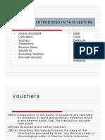 Vouchers-cash vouchers(credit and debit vouchers), non cash (Transfer voucher)