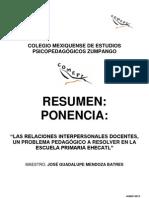 José Guadalupe Mendoza Batres (Resumen)