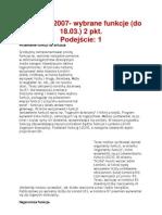 MS Excel 2007- Wybrane Funkcje (Do 18.03.)
