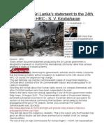 Prediction of Sri Lanka's statement to the 24th session of the HRC - S. V. Kirubaharan