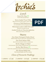 Archies Menu Lunch From June 09