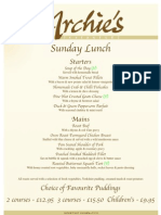 Archies Menu SUNDAY Lunch From June 09