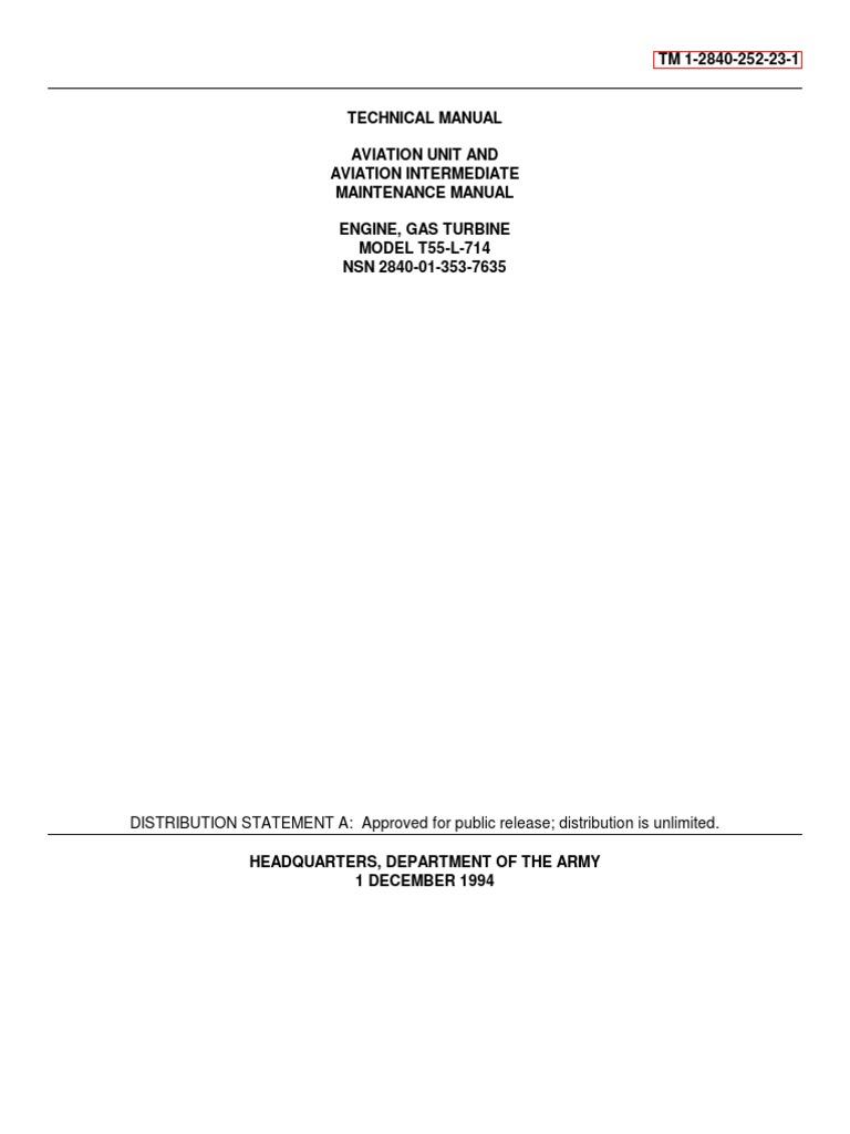 ENGINE, GAS TURBINEMODEL T55-L-714 SERVICE MANUAL TM-1-2840-252-23-1 |  Turbine | Troubleshooting