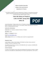 Theatre 496 History of Theatre II Syllabus