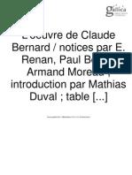 Bernard, Claude (introdução e índice das obras completas)