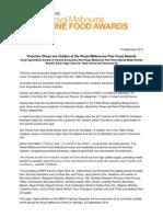 Media Release - Victorian Olives are Golden at the Royal Melbourne Fine Food Awards