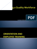 4A Developing a Quality Workforce - Orientation and Training