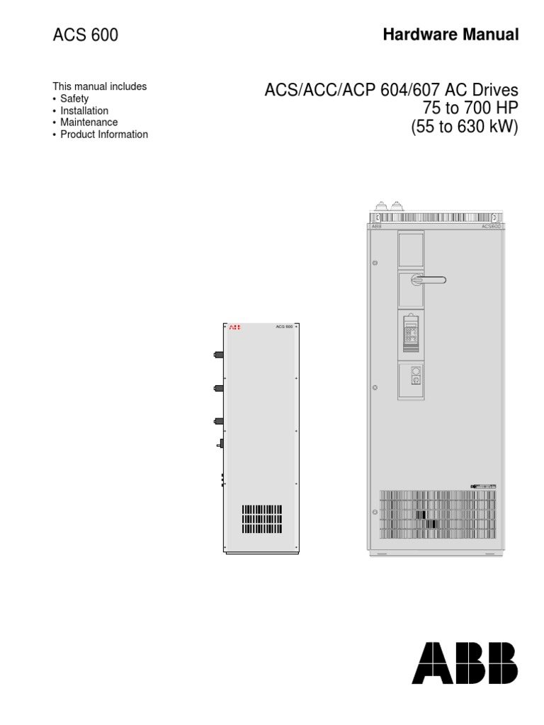 ACS 600 Hardware Manual   Electrical Wiring   Cable Abb Acs Vfd Wiring Diagram on
