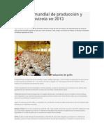 Situación mundial de producción y comercio avícola en 2013