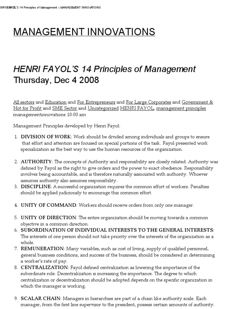 henri fayol principles and banking Management theories  general principles of management henri fayol was born in 1841 in istanbul, is often known as the person who developed a general theory of business administration he was a mining engineer who worked as the managing director of a big french mining company named as compagnie de commentry-fourchambeau-decazeville for the last 30 years.