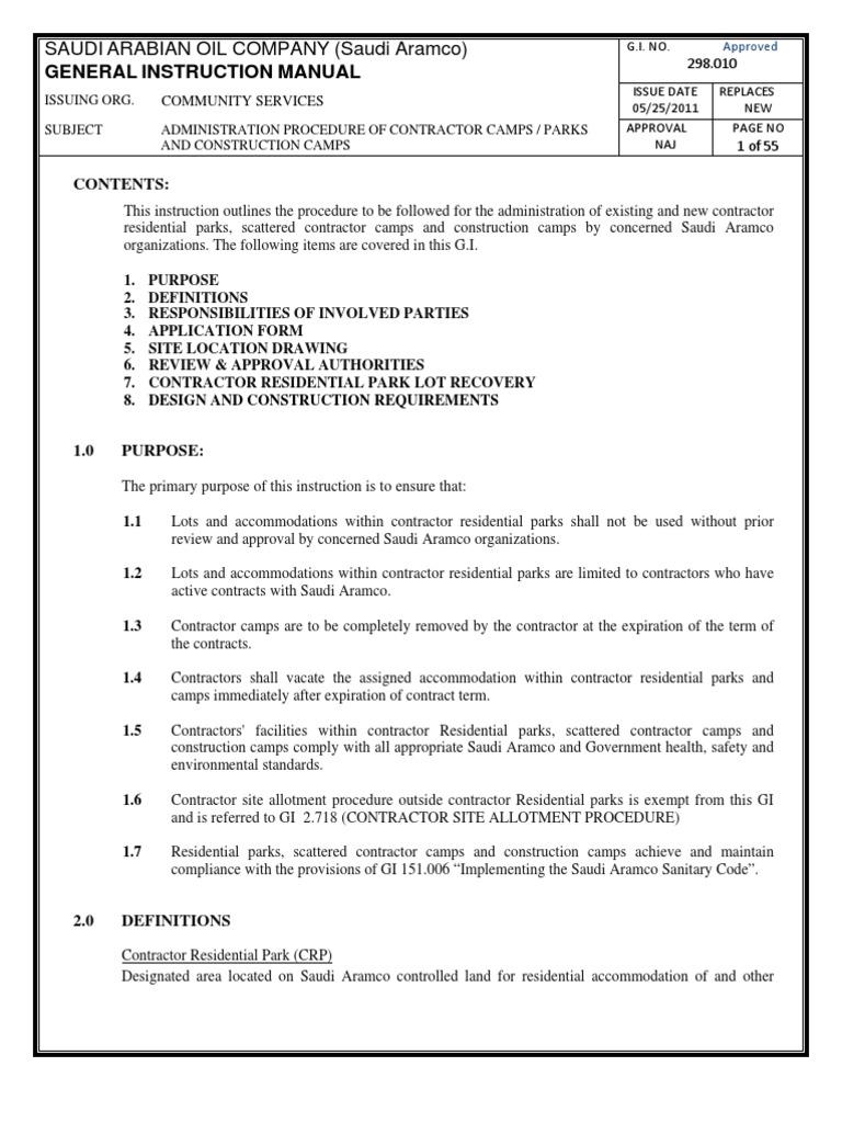 G I 298 010 Contractor Camps Procedures General