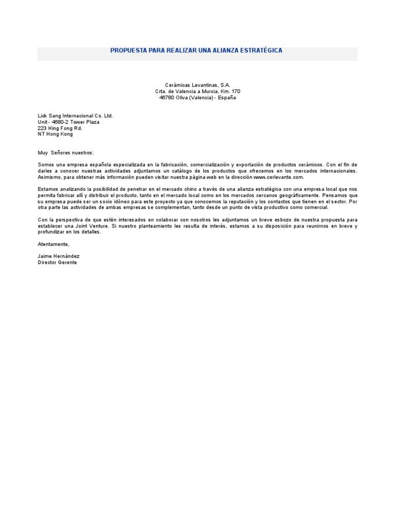 Ejemplo de carta PROPUESTA PARA REALIZAR UNA ALIANZA ESTRATÉGICA