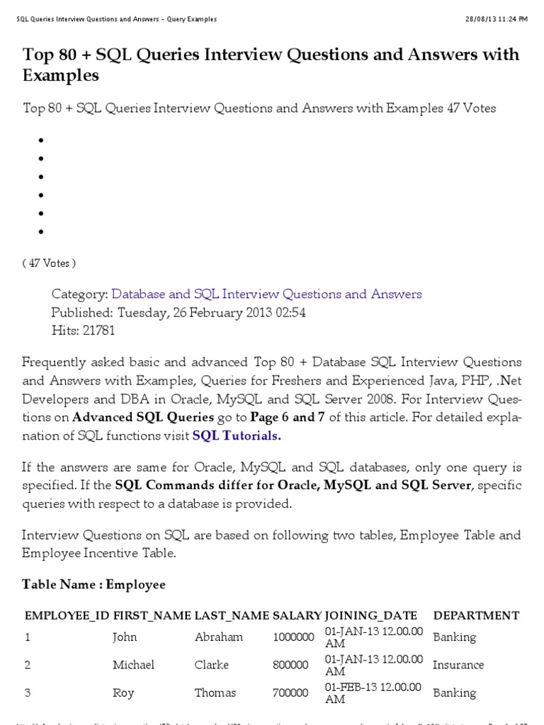 SQL Queries Interview Questions and Answers - Query Examples