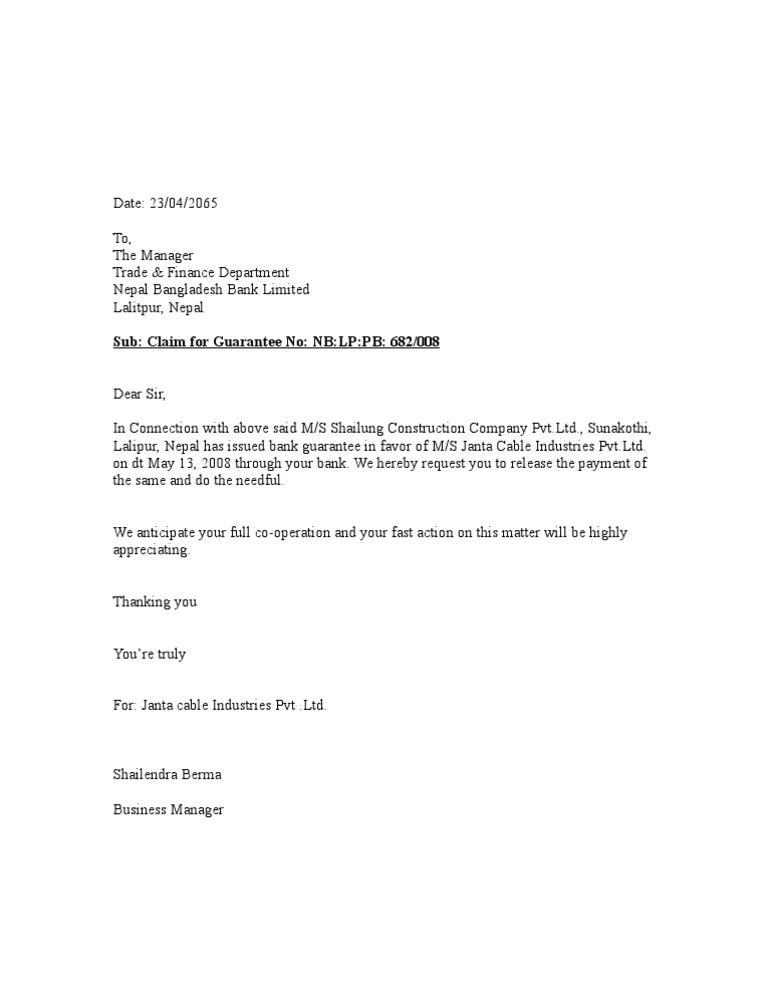 Letter Format For Bank Guarantee.  1522745272 v 1