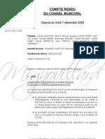 Mignovillard - Compte rendu du Conseil municipal du 7 décembre 2009
