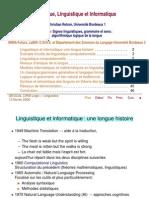 Logique Linguistique Et Informatique