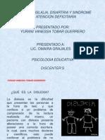 Dislexia, Dislalia, Disartria y Síndrome de Atención deficitaria