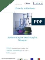 Relatório da actividade da sedimentação, decantação e filtração