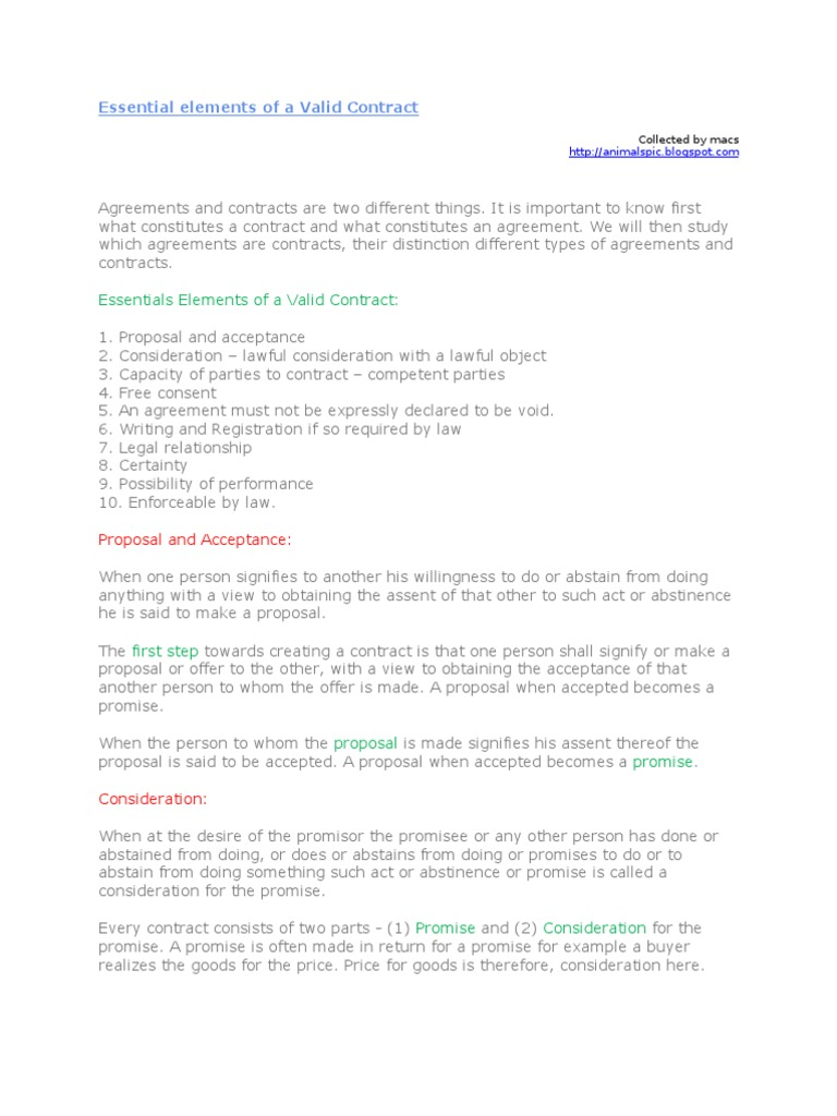 Essential elements of a valid contract consideration consent platinumwayz