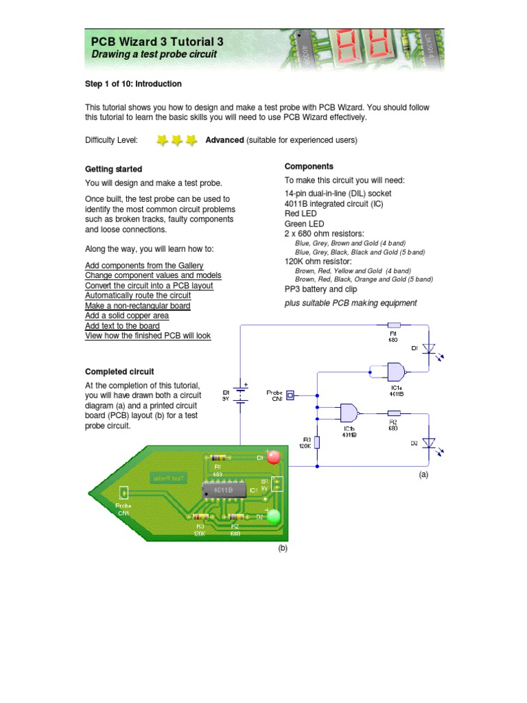 Tutorial 3 Drawing A Test Probe Circuit Printed Board Diagram Electronic Circuits