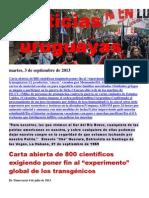 Noticias Uruguayas Martes 3 Setiembre Del 2013