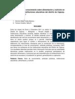 NIVEL DE CONOCIMIENTO SOBRE ALIMENTACIÓN Y NUTRICIÓN EN DOCENTES DE LAS INSTITUCIONES EDUCATIVAS DEL DISTRITO DE CAJACAY-BOLOGNESI-ANCASH