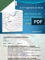 MÉTODOS DE EXPLOTACIÓN SUBTERRANEA  1ra Clase