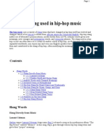 List of Slang Used in Hip-hop Music