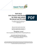 Fall 2013 Arts Classes & Workshops