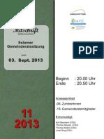Eslarner Gemeinderatssitzungen - Mitschrift vom 03.09.2013