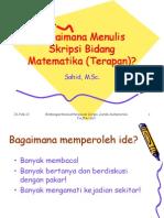 Bagaimana Menulis Skripsi Bidang Matematika