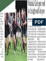 Waitaki girls put end to Craighead's hopes (Timaru Herald; 2013.08.23)