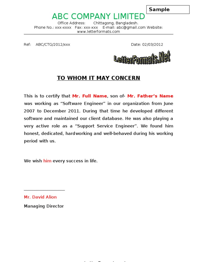 Whomsoever It May Concern Experience Certificate Format