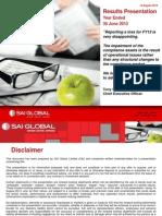 SAI FY13 -  Results Investor Presentation