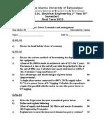 Power Economics Final q Paper 2012 Special
