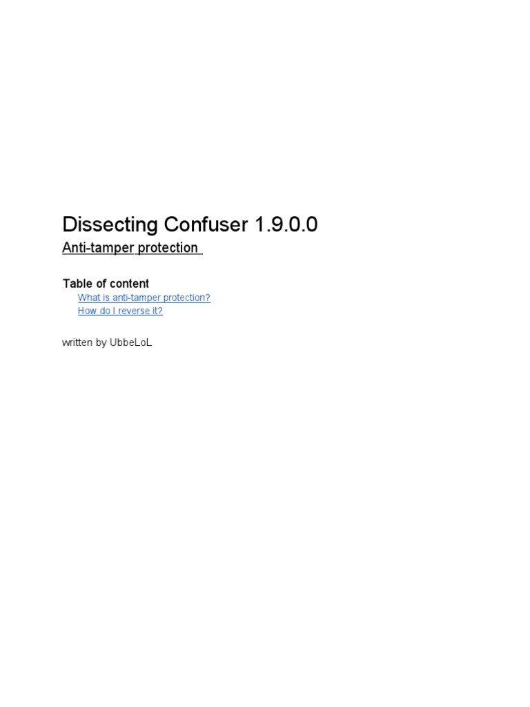 Dissecting Confuser 1 9 0 0 - Anti-tamper | Cryptography | Encryption