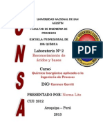 LABORATORIO  n° 2 acido y bases