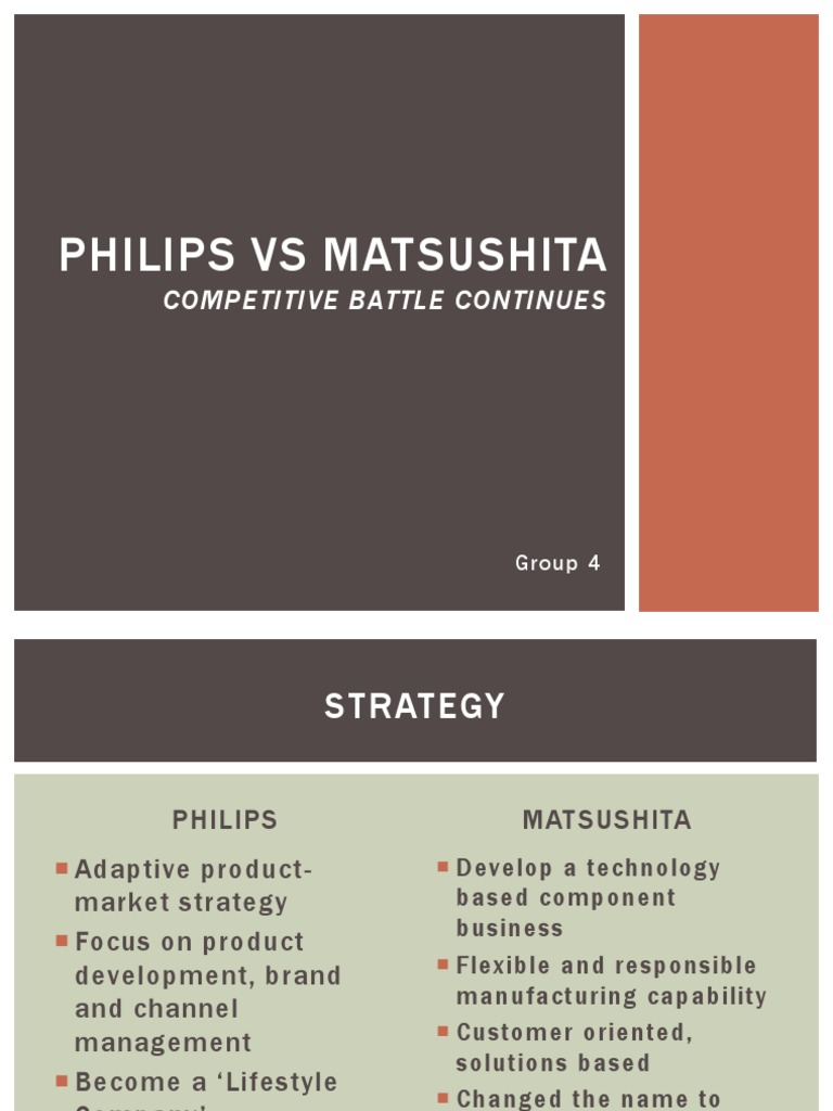philips versus matsushita the competitive battle continues essay Philips versus matsushita the competitive battle continues - describes the development of the global strategies and organizations of two major competitors in the consumer electronics industry.