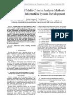 Application of Multi-Criteria Analysis Methods to the Tourist Information System Development