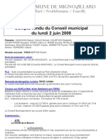 Mignovillard - Compte rendu du Conseil municipal du 2 juin 2008
