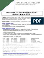 Mignovillard - Compte rendu du Conseil municipal du 4 août 2008