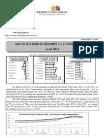 Nouveaux Indices des prix à la consommation - Avril 2011 (INSTAT - 2011)