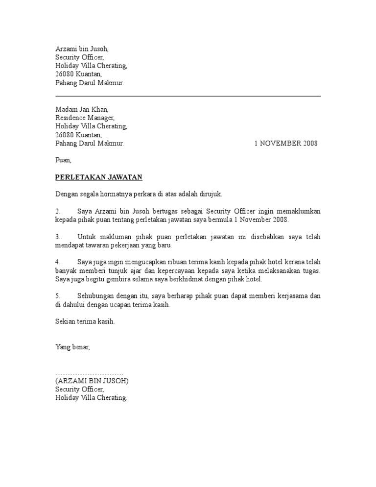 Surat Rasmi Letak Jawatan Kerajaan J Kosong R