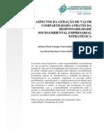 ASPECTOS DA GERAÇÃO DE VALOR compartilhado através da repsonsabilidade socioambiental empresarial estratégica