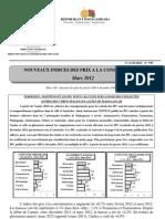 Nouveaux Indices des prix à la consommation - Mars 2012 (INSTAT - 2012)