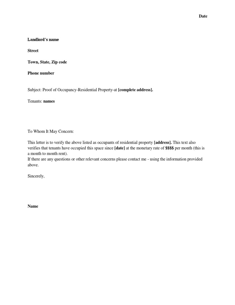 Proof of Residency Template – Rent Verification Letter Sample